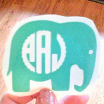 Elephant Monogram, Binder Sticker, Decal for Cup, Elephant with Name