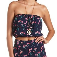 Printed Ruffle Tube Top by Charlotte Russe
