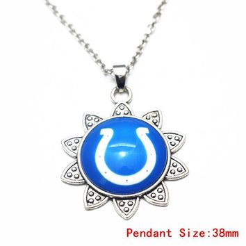 1pcs Sunflower Football Indianapolis Colts Glass Pendant Necklace Silver 20 Inch Chains Necklace For Women Necklace DIY Jewelry
