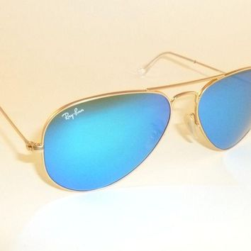 New RAY BAN Aviator Sunglasses Matte Gold Frame RB 3025 112/17 Blue Mirror 62mm