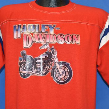 70s Harley Davidson Glitter Iron On Jersey t-shirt Large