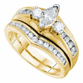 14kt Yellow Gold Women's Marquise Diamond Bridal Wedding Engagement Ring Band Set  Cttw - FREE Shipping (US/CAN)