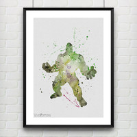 Hulk Poster, The Incredible Hulk Watercolor Print, Marvel SuperHero Boy's Room Poster, Wall Art, Not Framed, Buy 2 Get 1 Free! [No. 108]