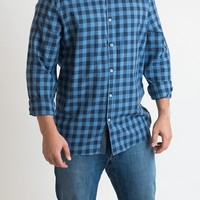 MEN'S: Checkered Blue Button Down