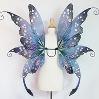Fairy wings - Ideal for fairy costume, fairy photography, fairy wedding - Blue fairy wings - Embyrre Fae Queen design