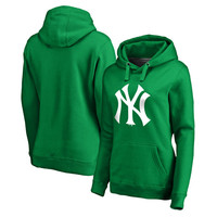 Women's Fanatics Branded Kelly Green New York Yankees St. Patrick's Day White Logo Pullover Hoodie