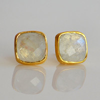 Faceted Cushion square cut Rainbow Moonstone Vermeil Gold or Sterling or Oxidized silver bezel Stud Post Earrings - June Birthstone