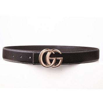 GUCCI Fashion Woman Men Fashion Smooth Buckle Waistband Leather Waistband Coffee G