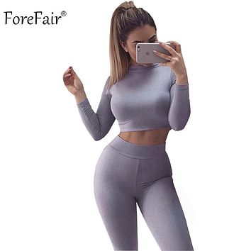 Black Grey Khaki 2 Piece Jumpsuit Long Sleeve Crop Top Pants Sexy Bodysuit Cotton Fitness
