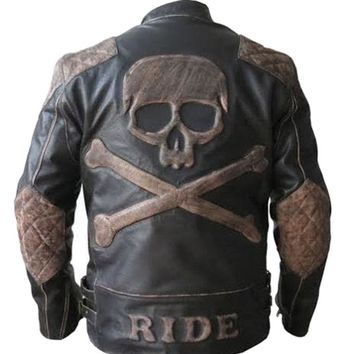 NEW Men's Biker Reinforced Vintage Distressed Black with Skull Leather Jacket