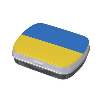 Patriotic candy tins with Flag of Ukraine