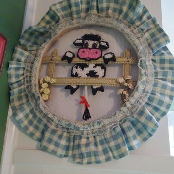 handmade plastic canvas country cow on a fence door wall wreath hanging decor