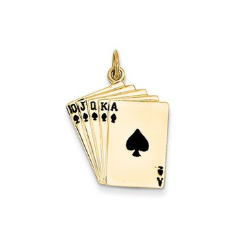 14k Yellow Gold and Enamel Royal Flush Playing Cards Charm