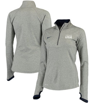 Team USA Nike Women's Element Performance Half-Zip Jacket - Heathered Gray
