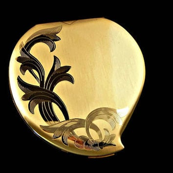 Elgin American Powder Compact Heart Shape with Etched Floral in Original Box