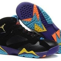 Hot Air Jordan 7 (VII) Retro Women Shoes Black Purple Blue