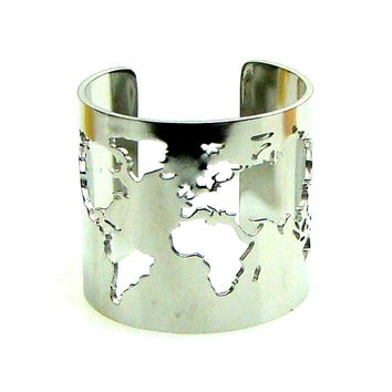 Travel Peace Jewelry Stainless Steel 20mm Wide World Map Cut-out Fine Polished Circle Angle Openable Adjustable Finger Ring