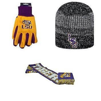 Licensed NCAA LSU Tigers Spirit Scarf Grip Work Glove And Leeward Beanie Hat 3Pk 84188 KO_19_1