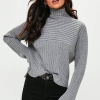 Missguided - Grey Exaggerated Sleeve Ribbed Sweater