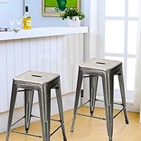 Joveco 24 Inches Sheet Metal Frame Tolix Style Bar Counter Stool - Set of 2 (24 inches Gunmetal)
