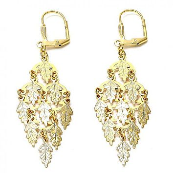 Gold Layered 02.63.2200 Chandelier Earring, Leaf Design, Polished Finish, Gold Tone