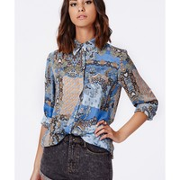 Missguided - Misty Paisley Boyfriend Shirt Blue