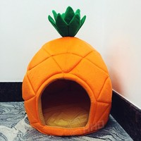 2 Size Creative Cute Pineapple Pet House Sleep Basket Cat Puppy Dog Bed for Small Dogs Litter Lounger Foldable Kennel Sofa Niche