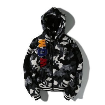 BAPE AAPE Camouflage furry hooded jacket M ~ 2XL