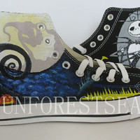 Converse Custom sneakers canvas shoes /The Nightmare Before Christmas hand painted/Halloween Christmas Gift