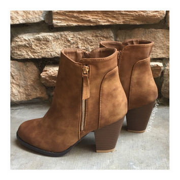 """Style and Flare"" Always Faithful Tan Heel Bootie Boots"