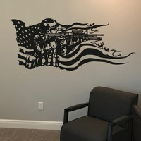 Vinyl Wall Decal Sticker America Flag with U.S. Soldier #GFoster155