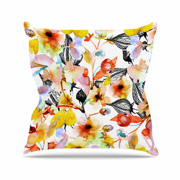 "Liz Perez ""BLOSSOMS"" Multicolor Floral Outdoor Throw Pillow"