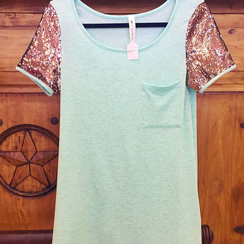Heathered Mint Short Sequined Sleeve Tunic ** MADE IN THE USA**