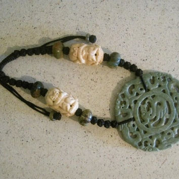 Cow Bone with Dragon Jade Pendant Necklace