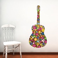 Colorful Wall Decals Trumpet Musical Instrument Music Recording Studio Full Color Flowers Floral Patterns Wall Vinyl Decal Stickers Bedroom Murals