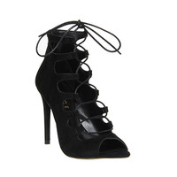Office Parisian Lace Up Ghilly Sandal Black Suede - High Heels