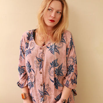 Vintage - 90s- Natural Tone - Pink & Blue - Batik - Ethnic Floral - Button Up - Long Sleeve - Ethnic Indian - Shirt - Top - Hippie - Boho