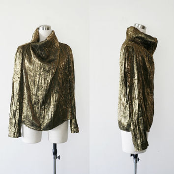 90s draped metallic gold top / crinkled high neck blouse
