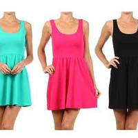 Women Sexy Round Neck Low Back Sleeveless Textured Pleated Skater Mini Dress