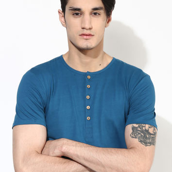 Organic Cotton Blue Henley T-Shirt