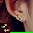 String of Stars Curved Rhinestone Earrings (1 Piercing/Ear )
