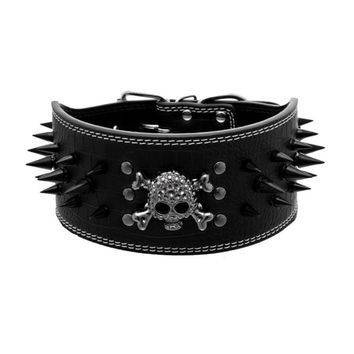Rivet Collar For Dogs Anti Bite Leather Material Dog Collar Black Skull Leash For Dogs Pet Supplies