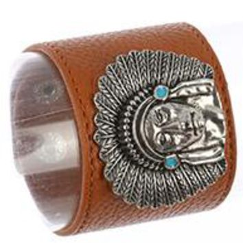 NATIVE AMERICAN Metal CHIEF FAUX Tan LEATHER BAND  BRACELET  Snap closure