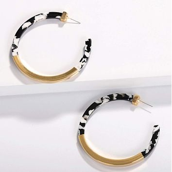Two Tone Resin Hoop Earrings