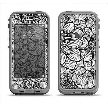 The White and Black Flower Illustration Apple iPhone 5c LifeProof Nuud Case Skin Set