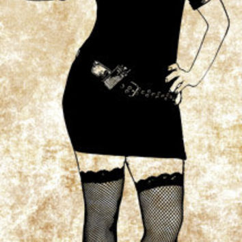 sexy police woman pinup girl PNG clip art Digital Image Download beauty graphics printables