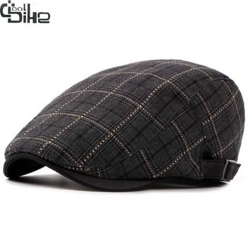 Fashion Classic Men's Berets Hats Plaid Spring Summer Casquette Gentleman Caps With a Straight Visor Males Flat Cap Ajustable