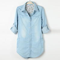 Lapel Collar Long Sleeves Button Floral Lining Pockets Washed Denim Top