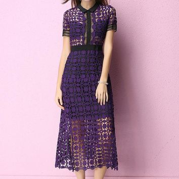 2019 Red Runway Spring Fashion Short Sleeve Women Dresses Elegant Designer Lace Print Maxi Long Vestidos Hippie Chic Boho People Casual