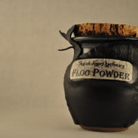 FLOO POWDER!  Decorative Harry Potter Leather Covered Ceramic Jar of Magical Powder.